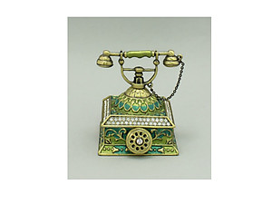 Green Gold Burnish Enamel Deco Antique Telephone Trinket Box