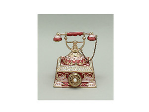 Red Enamel Deco Antique Telephone Trinket Box