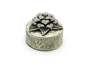 Grey Deco Enamel and Crystal Flower Jewelry Trinket Box