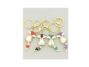 Crystal Enamel Sly Fox Bag Charm Keychain