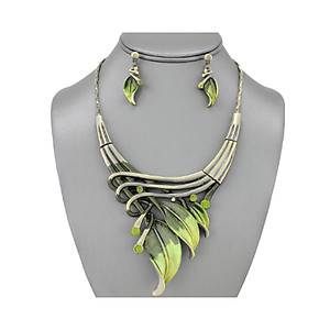 Olive Etched Metal Leaf Art Deco Style Collar Necklace Stud Earrings Set