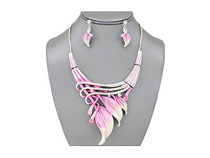 Pink Etched Metal Leaf Art Deco Style Collar Necklace Stud Earrings Set