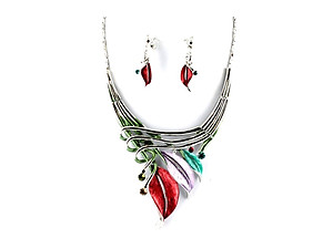 Light Multi-Colored Etched Metal Leaf Art Deco Style Collar Necklace Stud Earrings Set
