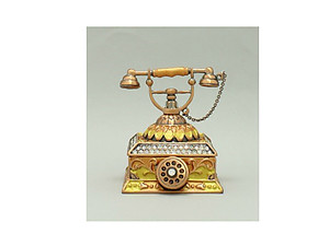 Brown and Copper Enamel Deco Antique Rotary Telephone Trinket Box