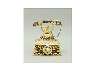 Brown and Gold Enamel Deco Antique Rotary Telephone Trinket Box