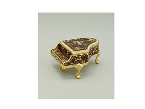 Brown and Gold Enamel Deco Piano Trinket Box