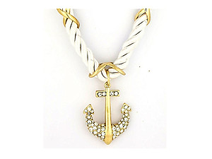 Goldtone & White Anchor Pendant Nylon Cord Necklace Set