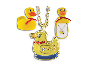 Duck Critter Pendant in Yellow Velour Hinged Gift Box