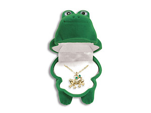 Frog Critter Pendant in Green Velour Hinged Gift Box