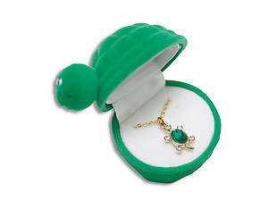 Turtle Critter Pendant in Green Velour Hinged Gift Box