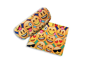Emojis Small Hard Eyeglass Case with Matching Cleaning Cloth