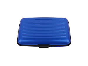 Blue Aluminum Wallet Credit Card Holder With RFID Protection