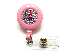 Pink Ribbon Bling Retractable Cord Reel ID Badge Holder