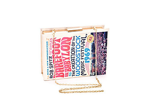 Barefoot In Babylon Beige Cushioned Vinyl Book Pave Clutch Bag