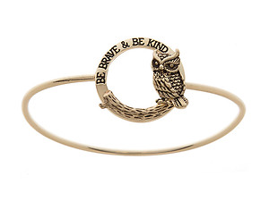 Goldtone Be Brave & Be Kind Imprint Owl Hinge Bangle Bracelet