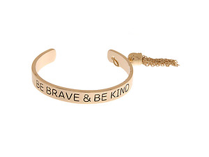 Goldtone Chic Be Brave & Be Kind Imprinted Chain Tassel Cuff Bracelet