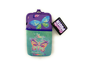 Butterfly Design Neoprene Cigarette Pouch with Snap Clasp Closure
