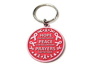 Pink Ribbon Key Chain w/ Metal Medallion Design on Back ~ Style 287D