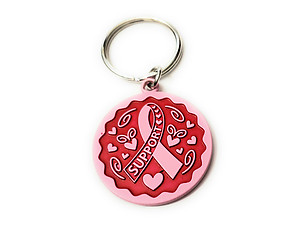 Pink Ribbon Key Chain w/ Metal Medallion Design on Back ~ Style 291D