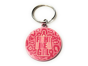 Pink Ribbon Key Chain w/ Metal Medallion Design on Back ~ Style 292D
