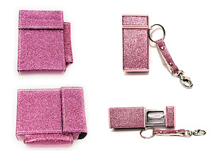 Kingsize Glitter Cigarette Case With Lighter Pouch & Ashtray Set