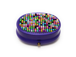 Rhinestone Small Oval Light Up Two Compartment Pill Organizer Case Box ~ Style 627C
