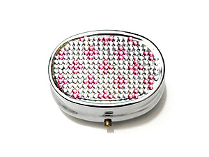 Rhinestone Small Oval Light Up Two Compartment Pill Organizer Case Box ~ Style 629C