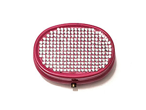 Rhinestone Small Oval Light Up Two Compartment Pill Organizer Case Box ~ Style 630C