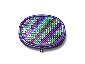Rhinestone Small Oval Light Up Two Compartment Pill Organizer Case Box ~ Style 631C