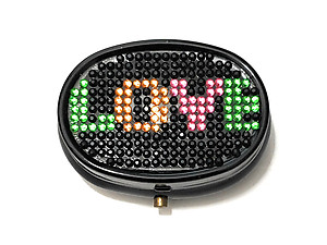 Rhinestone Small Oval Light Up Two Compartment Pill Organizer Case Box ~ Style 632C