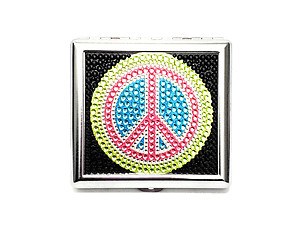 Peace Sign Bling Double Sided Metal Cigarette Case for Kings/ Wallet