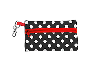 Neoprene Zippered Student ID Case with Key Ring (Black with Red)