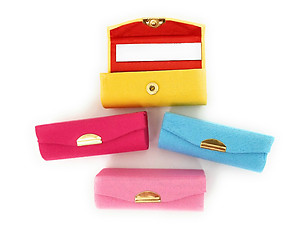 Satin Solid Color Lipstick Case w/ Mirror