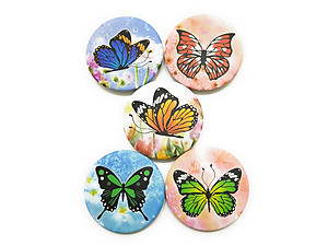 Butterfly Theme Folding Makeup Round Compact Mirror