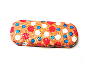 Orange Polka Dots Small Hard Sunglasses / Eyeglasses Case