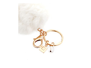 White Fur Pom Pom Keychain with Bottle Charm
