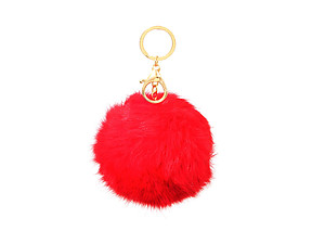Light Red Fur Pom Pom Keychain