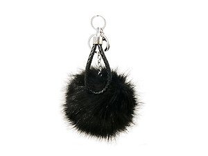 Black Fur Pom Pom Keychain with Black Leather Cord