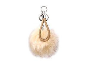 Camel Brown Fur Pom Pom Keychain with Brown Leather Cord
