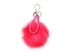 Fuschia Fur Pom Pom Keychain with Fuschia Leather Cord