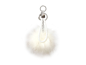 White Fur Pom Pom Keychain with White Leather Cord