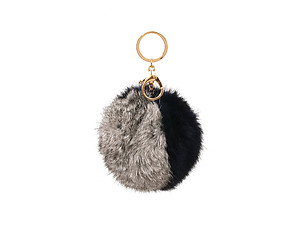 Navy and Grey Two Tone Fur Pom Pom Keychain