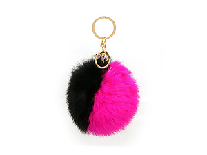 Fuchsia and Black Two Tone Fur Pom Pom Keychain