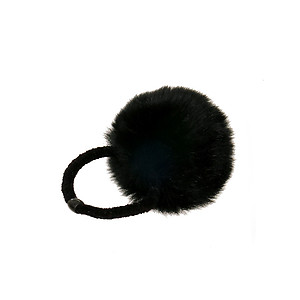 Black Pom Pom Fur Stretchy Band Hair Tie Ponytail Hairband
