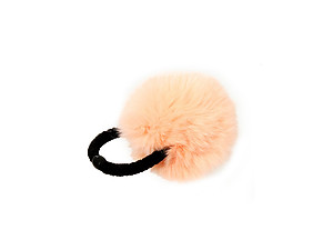Peach Pom Pom Fur Stretchy Band Hair Tie Ponytail Hairband