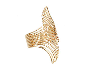 Goldtone Crossed Wing Hinge Bracelet