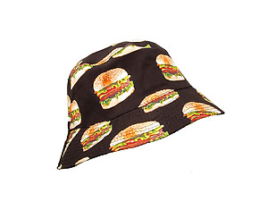 Black Hamburger Pattern Fashion Bucket Hat
