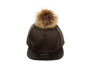 Dark Brown Faux Leather Pom Pom Snapback Baseball Hat Cap w/ Watch Strap Closure