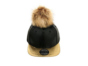 Gold and Black Faux Leather Pom Pom Snapback Baseball Hat Cap w/ Watch Strap Closure