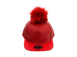 Red Faux Leather Pom Pom Snapback Baseball Hat Cap w/ Watch Strap Closure